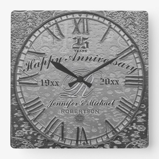 25th Silver Wedding Anniversary Vintage Antique Square Wall