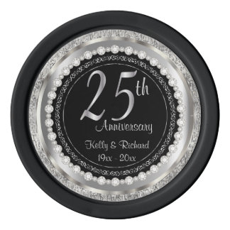 25th Silver Wedding Anniversary with Photo Poker Chips