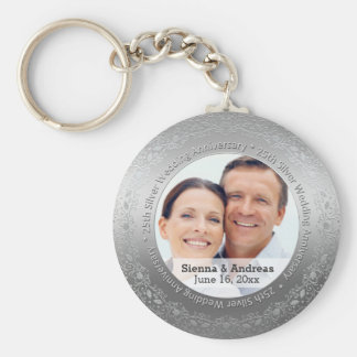25th silver wedding with a photo basic round button key ring