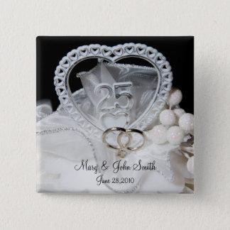 25th Wedding Anniversary 15 Cm Square Badge
