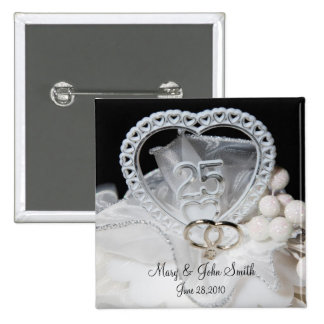 25th Wedding Anniversary 15 Cm Square Badge
