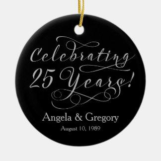 25th Wedding Anniversary 25 Silver Black Christmas Ornament