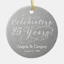 25th Wedding Anniversary 25 Silver White