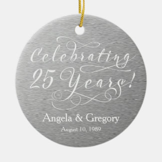 25th Wedding Anniversary 25 Silver White Christmas Ornament