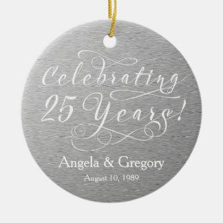 25th Wedding Anniversary 25 Silver White Christmas Tree Ornaments