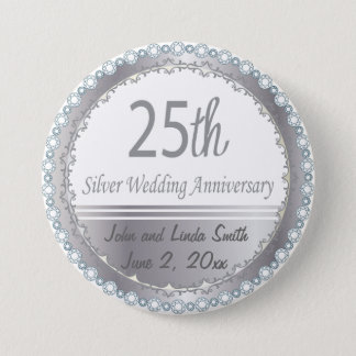 25th Wedding Anniversary 7.5 Cm Round Badge