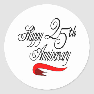 25th wedding anniversary a classic round sticker