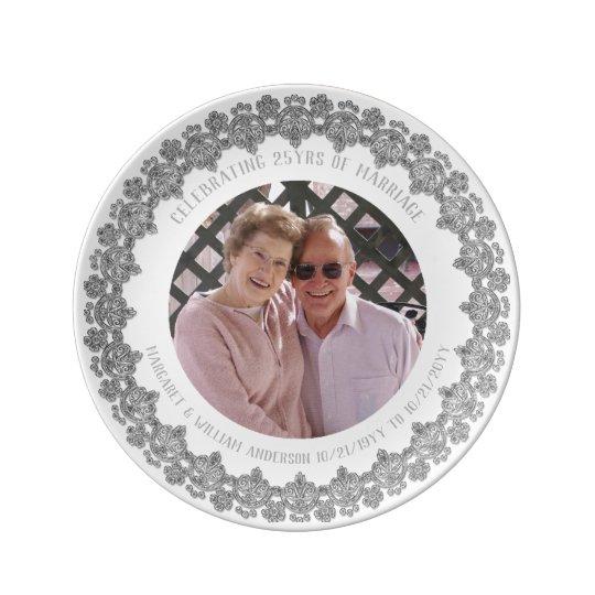 25th Wedding Anniversary - ADD PHOTO Silver White