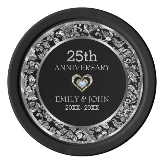 25th Wedding Anniversary-Black And Silver Damask Poker Chips