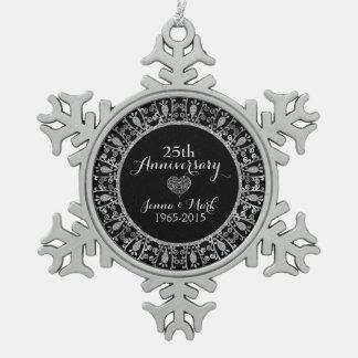 25th Wedding Anniversary Black & Gold Frame Pewter Snowflake Decoration