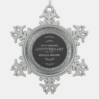 25th Wedding Anniversary Black & Silver Lace Pewter Snowflake Decoration