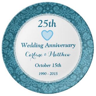 25th Wedding Anniversary Blue Damask and Lace E05C Porcelain Plates