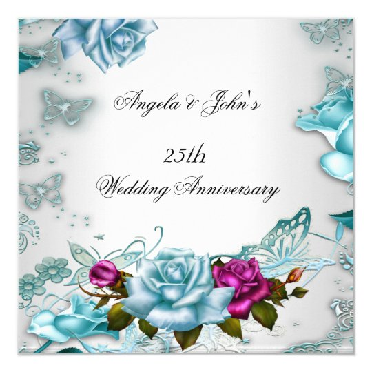 25th Wedding Anniversary Blue Floral Pink Card