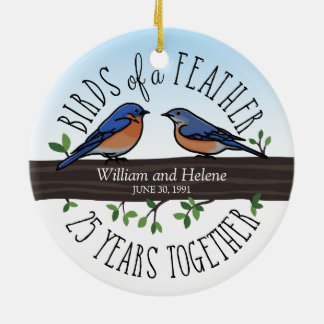 25th Wedding Anniversary, Bluebirds of a Feather Christmas Ornament