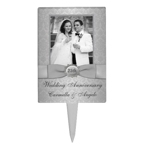 25th Wedding Anniversary Cake Pick with Photo