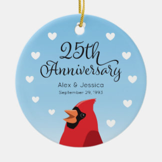25th Wedding Anniversary, Cardinal and Hearts Christmas Ornament