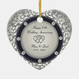 25th Wedding Anniversary Ceramic Heart Decoration