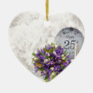 25th Wedding Anniversary Ceramic Heart Decoration
