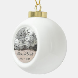 25th Wedding Anniversary Chic Silver Typography Ceramic Ball Decoration