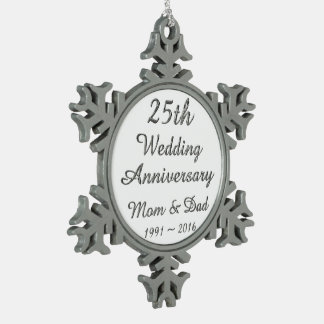 25th Wedding Anniversary Chic Silver Typography Pewter Snowflake Decoration