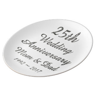 25th Wedding Anniversary Chic Silver Typography Plate