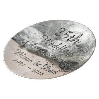 25th Wedding Anniversary Chic Silver Typography Porcelain Plate