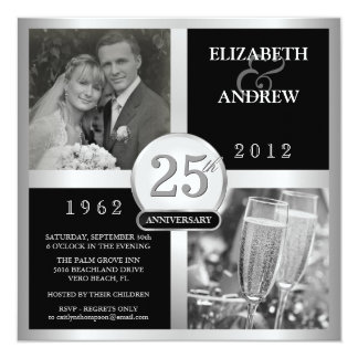 25th Wedding Anniversary Elegant Photo Invitations