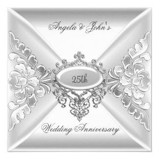 25th Wedding Anniversary Elegant Silver White 13 Cm X 13 Cm Square Invitation Card