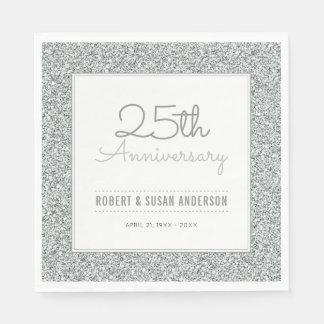 25th Wedding Anniversary Faux Silver Glitter Paper Serviettes