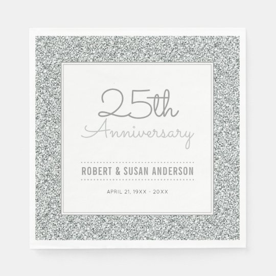 25th Wedding Anniversary Faux Silver Glitter Paper Serviettes