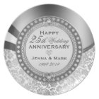 25th Wedding Anniversary Floral Silver & White Plate