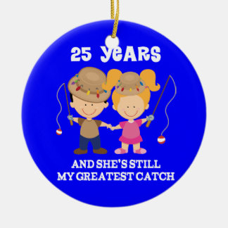 25th Wedding Anniversary Funny Gift For Him Round Ceramic Decoration