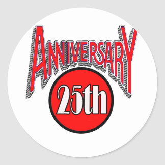 25th Wedding Anniversary Gifts Classic Round Sticker