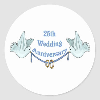 25th wedding anniversary gifts t classic round sticker