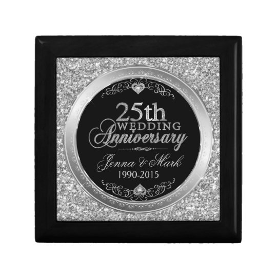 25th Wedding Anniversary Glitter & Silver Design Gift
