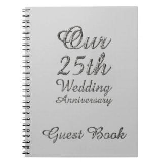 25th Wedding Anniversary Guest Book Silver Grey Note Book