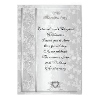 25th wedding anniversary invitation elegant