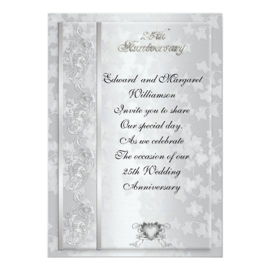 25th wedding anniversary invitation elegant