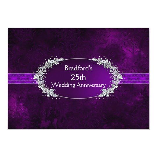 25th Wedding Anniversary - Invitation - Purple