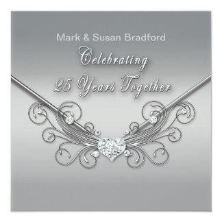 25th Wedding Anniversary - INVITATION - SILVER
