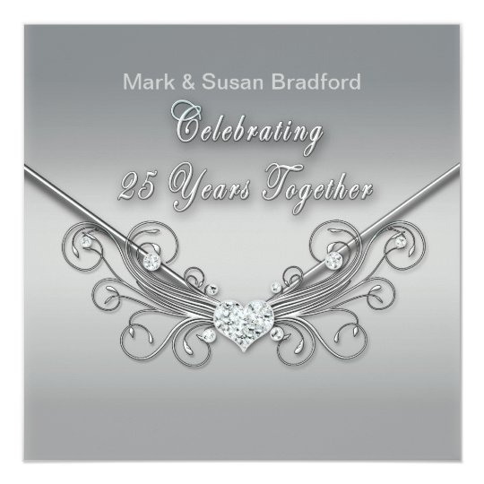 25th Wedding Anniversary - INVITATION - SILVER