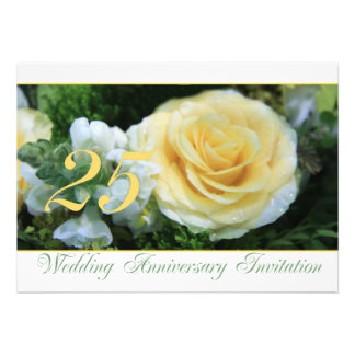 25th Wedding Anniversary Invitation - Yellow Rose
