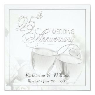 """25th Wedding Anniversary Invitations - Square 5.25"""" Square Invitation Card"""