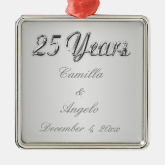 25th Wedding Anniversary Keepsake Ornament