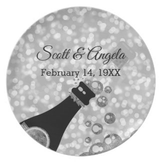 25th Wedding Anniversary Keepsake Silver Champagne Plate
