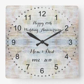25th Wedding Anniversary Marble Pattern Square Wall Clock