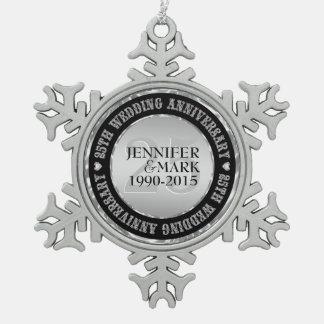 25Th Wedding Anniversary Metallic Silver & Black 2 Snowflake Pewter Christmas Ornament