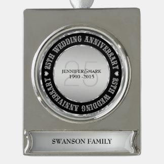 25Th Wedding Anniversary  Metallic Silver & Black Silver Plated Banner Ornament