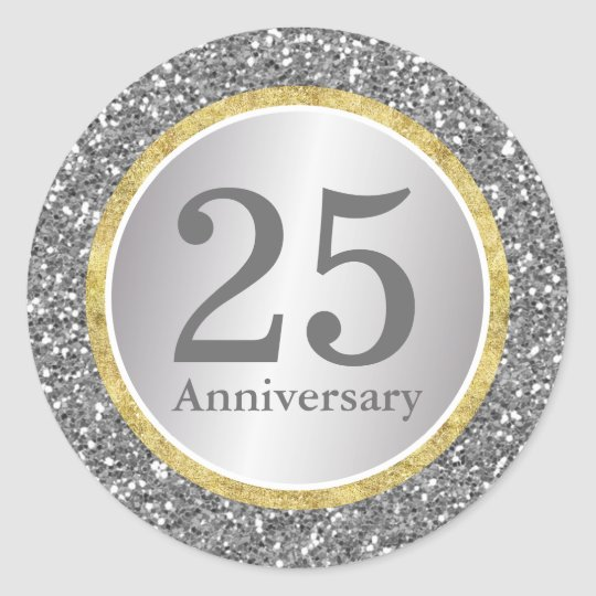 25th Wedding Anniversary Modern Silver & Gold Classic
