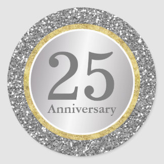 25th Wedding Anniversary Modern Silver & Gold Round Sticker